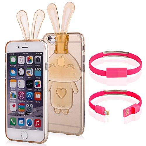 EGO  Transparent Silikon TPU 3D Schutz Hülle für iPhone 6 6S Pink Hasenohren Back Slim Case Crystal Soft Ultra Dünn Bunny Hase Gold + Kabel