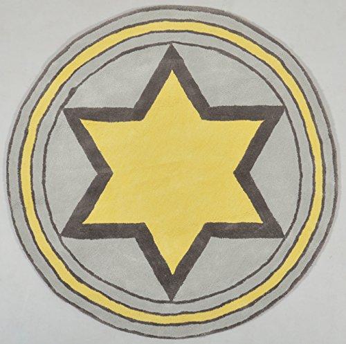 Alfombra Infantil, para niños 'Big Star' amarillo 120 cm diámetro - 100% algodón, Alfombra para habitación de niños, Alfombra para bebés, | Marca de calidad 'Craftmark' | Cuarto de los niños