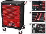 KS Tools 897.7215 Noir/Rouge Servante d'atelier Ecoline 7 tiroirs, équipée de 215 Outils