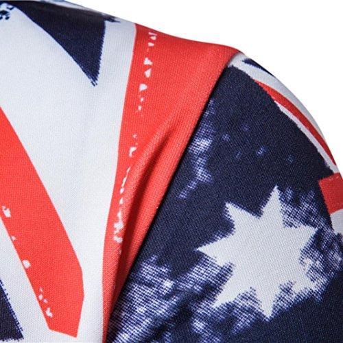 Koly Giacca da uomo Bandiera con cappuccio a manica lunga Cappuccio stampato Maglie sportive Blue