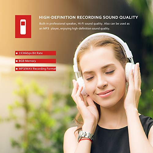 Victure Grabadora de Voz Digital Portátil 8GB 1536kbps HD Grabador de Sonido con Reproductor de MP3 Micrófono Incorporado Baterías Recargables
