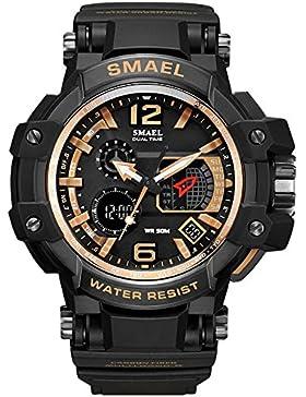 Fashion Uhren für Jungen GMT Gold Schwarz Digital Sportuhren für Männer