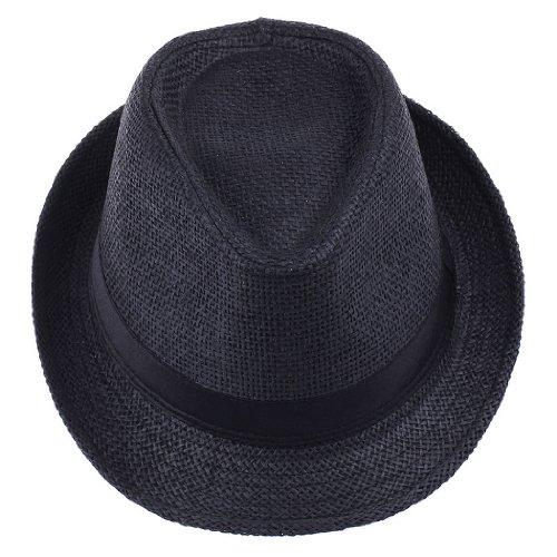 Decus 6 Farbe Feschion Modern Einfach Einfarbig Strohhut für Herren/Damen aus PP Braid (#2 Schwarz)