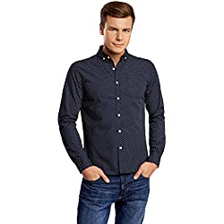 oodji Ultra Hombre Camisa Estampada Entallada, Azul, 44cm / ES 56 / XL