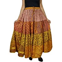 Womens Gypsy Long Skirt Yellow Boho Sari Swing Flare Tiered Maxi Skirts L