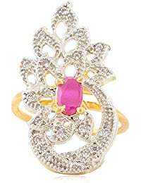 SKN Silver And Golden American Diamond Cocktail Party Ring Jewellery Gift For Women & Girls (SKN-1457)