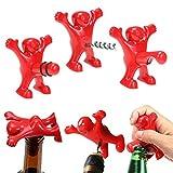 Queta fantaisie Barre de cuisine Fun Rouge Man Vin Bouteille de bière Ensemble d'outils (vin Opener + Bière Opener + Bouchon de bouteille de vin) Creative Cadeau