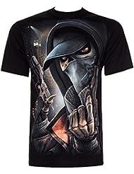 Spiral Direct Street Reaper T Shirt Imprimé Squelette Gangster (Noir)