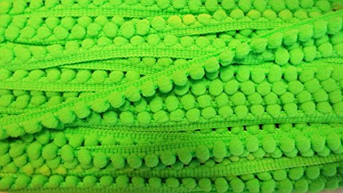 Pomponborte neon grün 10 mm Neon-grüner Reißverschluss