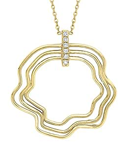 Carissima Gold 9 ct Yellow Gold Diamond Wave Necklace of Length 42 cm/16.5 inch