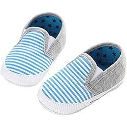 Culater® Bambino Infantile Sveglio Solide Scarpe Strisce Antiscivolo (12 ~ 18 Mesi, Blu)