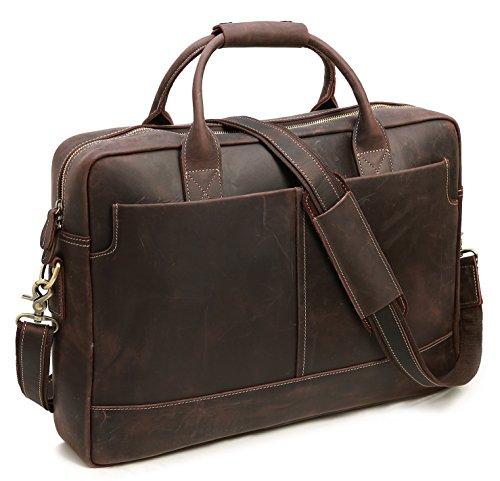 iswee Echtes Leder Laptop Messenger-Tasche Business Aktentasche Travel Duffel Gepäck Tasche Mehrfarbig Dunkelbraun Large Size-Fit 17