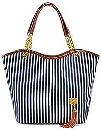 bd12873d9 Vincenza Designer Fashion Stripe Single Shoulder Canvas Bag Women Tote  Handbag