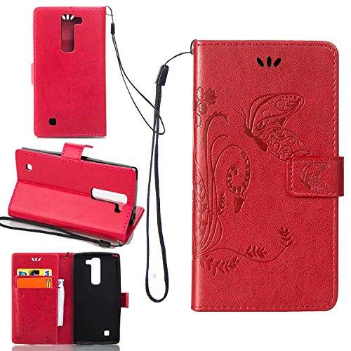 Guran® PU Ledertasche Case für LG G4c / LG Magna (5 Zoll) Smartphone Flip Cover Wallet und Stent-Funktions Hülle Geprägtes Schmetterling Muster Etui - Rot