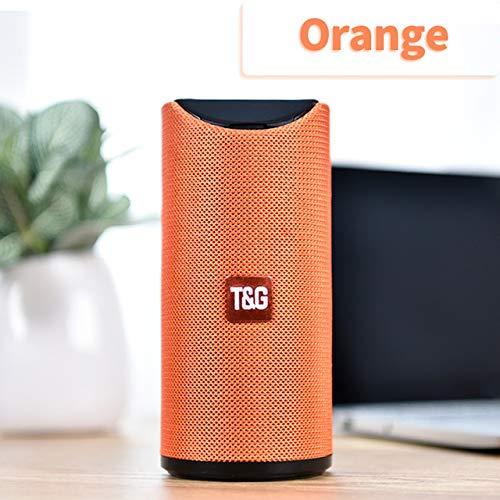Etbotu,Bluetooth Lautsprecher,Tragbarer Außenlautsprecher Drahtlose Mini Säule 3D 10 Watt Stereo Musik Surround Unterstützung FM TF Karte Bass Box,Orange