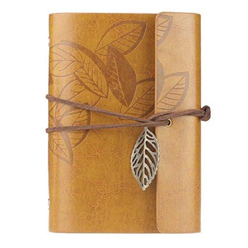 VORCOOL stile Vintage foglia foglie modello PU copertura stringa fogli volanti taccuino vuoto rilegato Notepad Travel Journal diario Jotter - taglia S (colore