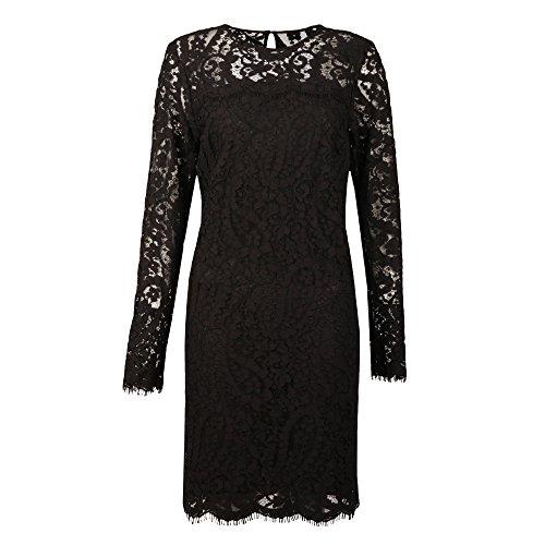 Michael Kors Scallop Lace Dress Damen Schwarz Spitze-n-Kleid MK121C068-Q11, Größe:34 (UK 6)