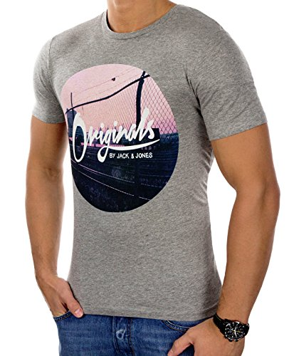 Jack & Jones Herren T-Shirt Kurzarmshirt Print (L, Light Grey Melange)