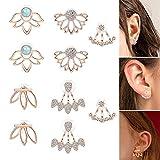 Milacolato 5Pairs Jacke Lotus Blume Bar Ohrstecker für Frauen Mädchen Crystal Ear Chic Manschette Ohrringe