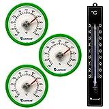 Lantelme 6998Termometro Set con 3PZ. Termometro Verde e incollare una volta analogico plastica rotonda in nero