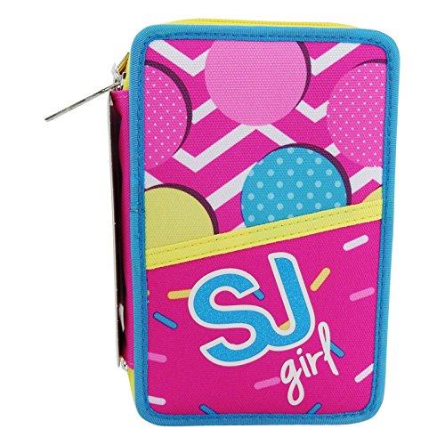 Seven sj gang girl astuccio tre zip portapastelli portapenne colori pennarelli scuola rosa