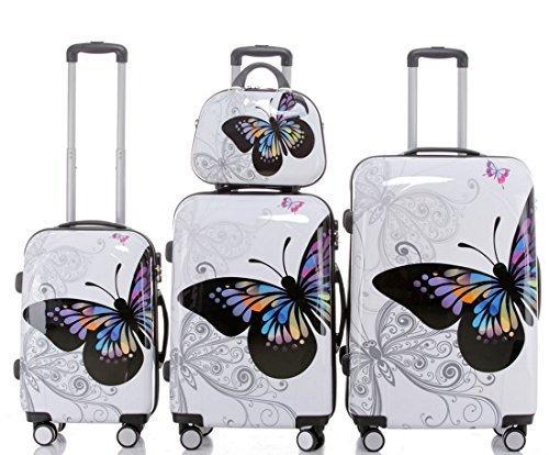 Butterfly - Trolley Koffer, Set 4-teilig, Hartschale, 3 Trolleys + Beauty-Case, 4 Rollen, XL-Light,