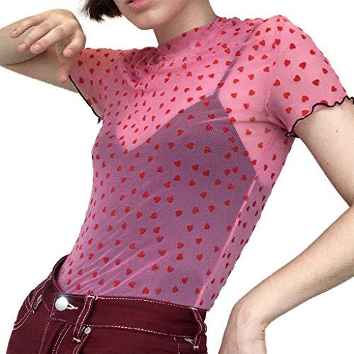 pitashe Bauchfrei Crop Tops Damen-T-Shirts Beiläufige Sommer Modische Frauen Teenager Mädchen sexy oansatz Kurzarm herzförmigen Druck perspektive net T-Shirt Soft Oberteil Bluse Tank Top -