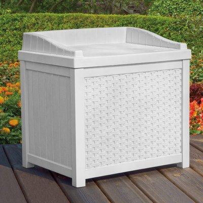 Suncast ssw1200W weiß Aufbewahrungsbox 22-gallon Korbgeflecht Sitz (Suncast Outdoor-deck)