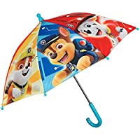 Paw Patrol Kids Umbrella - Light Blue Stick Umbrella Child with Marshall Rubble and Chase Print - Windproof Resistant Fiberglass - Safety Opening and Diameter 66 cm - Kiddy 3/5 Years Old - Perletti
