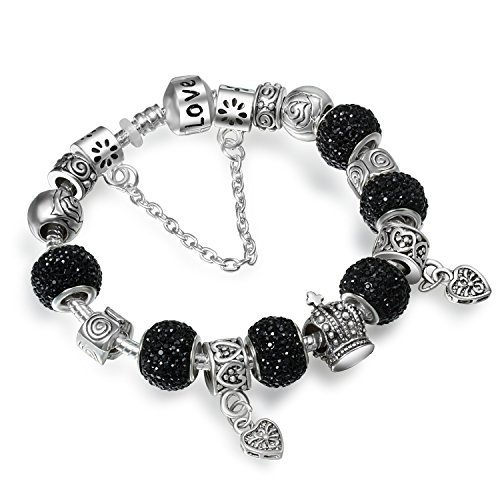 A TE® Bracciale Charms Cristalli Beads Nero Regalo Ragazza SKU:JW-B0023