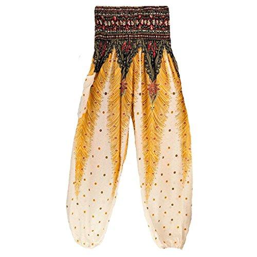 TUDUZ Thai Hippie Hose Hosenrock Haremshose Pumphose für Damen & Herren (Weiß, S-L) (Muster Casual Socken)