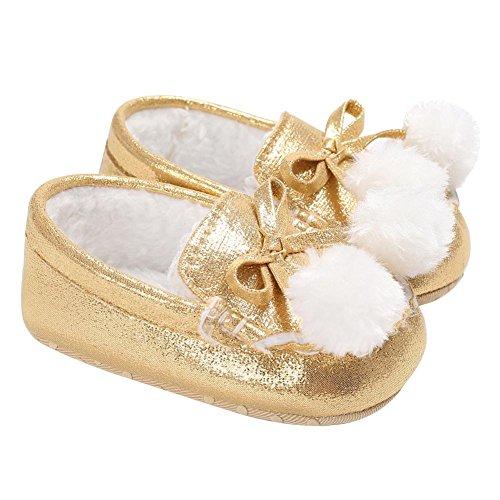 Kleinkind Infant White Gold Schuhe (Domybest Neugeborenes Baby Infant Kleinkind Fleece Glitter Prewalkers Schuhe (Gold 13cm))