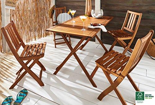 SAM® Gartengruppe Holstebro, 5tlg., Balkongruppe aus Akazienholz, FSC® 100% zertifiziert, 1 x Tisch + 4 x Stuhl, Garten-Tischgruppe, massives Holz, klappbar, Sitzgruppe aus Akazien-Holz