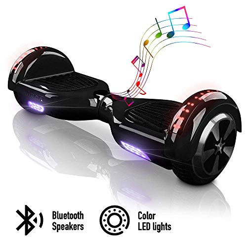 "ACBK - Patinete Eléctrico Hover Autoequilibrio con Ruedas de 6.5"" - Bluetooth + Luces LED + Mando a Distancia + Funda de Transporte - Velocidad máxima: 10-12 km/h, Autonomía 10-20 km (Negro)"