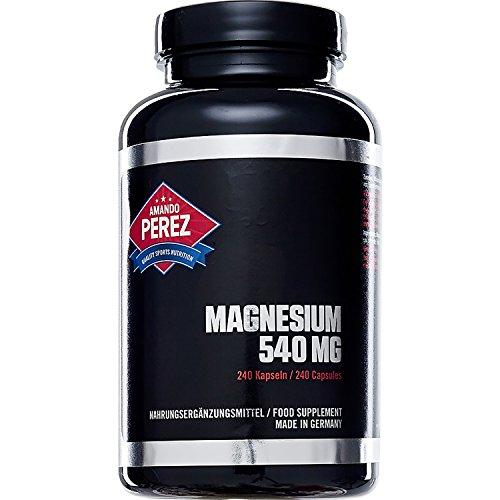 Für Lebensmittel Sportler (Hochaktives Magnesium 540 mg pro Dosis - 240 Kapseln - Ideal für Sportler)