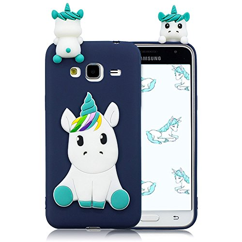 Cover Samsung Galaxy J3 2016 Unicorno 3D Tridimensionale Motif Cartone Relief Custodia Colore Caramella Molle Magro Silicone TPU Flessibile Protezione Posteriore Protettiva Case - Blu Scuro