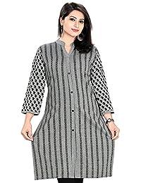 Color Petal Printed Cotton Short Kurti / Tunic / Top For Women And Girls