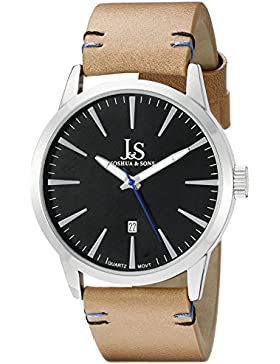 Joshua & Sons Herren Armbanduhr Analog Display Swiss Quarz Beige