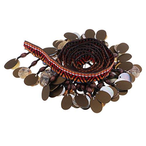 MagiDeal 1 Yard Pailletten Shell Perlen Quaste Organzaband Perlenband Hochzeit Trim Ribbon DIY Basteln (Pailletten-shell)