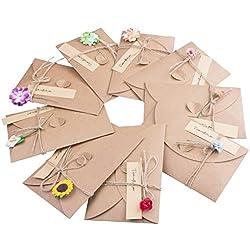 Tarjeta de agradecimiento para invitados con Papel Kraft y Flores Secas - 9 unidades