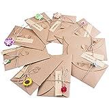 ZeWoo Carte de Voeux, Rétro Kraft Fait à La Main, Enveloppes Vierges, Fleurs Séchées Carte Postale Décorée pour Une Personne Spéciale et Une Occasion Importante