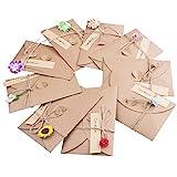 ZeWoo Set von 9 Grußkarte, Retro Kraftpapier-leere Umschläge Ewiges Leben Getrocknete Blumen Verzierte Postkarte Unbelegte Anmerkungs-Karten-Set, Danksagungskarten 9 Umschläge und Kleber Aufkleber