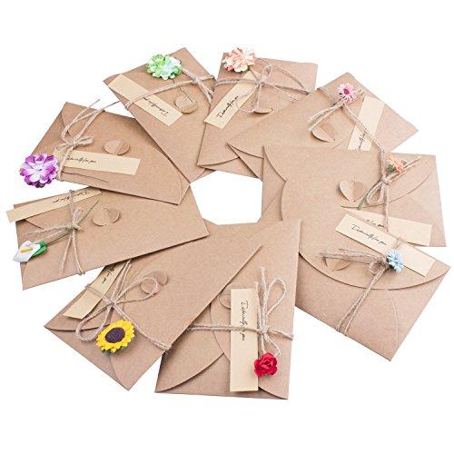 ZeWoo Set von 9 Grußkarte, Retro Kraftpapier-leere Umschläge Ewiges Leben Getrocknete Blumen Verzierte Postkarte Unbelegte Anmerkungs-Karten-Set, Danksagungskarten 9 Umschläge und Kleber Aufkleber (Grußkarte Blume)