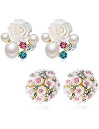 Jewels Galaxy Copper Stud Earrings for Women (Multi-Colour)(CB-BLL-4542)