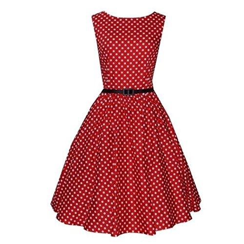 Mavis's Diary Femme Robe A-Line avec Ceinture Col Rond Sans Manches Polyester Plissé Imprimé Mince Élégante Vintage Rouge