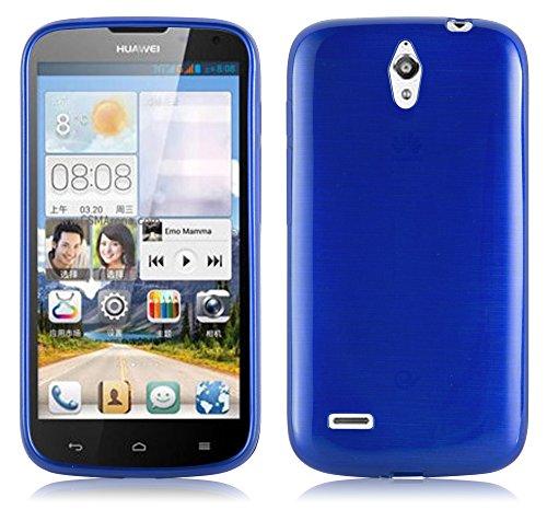 Cadorabo Hülle für Huawei Ascend G610 - Hülle in BLAU – Handyhülle aus TPU Silikon in gebürsteter Edelstahloptik (Brushed) Silikonhülle Schutzhülle Soft Back Cover Case Bumper