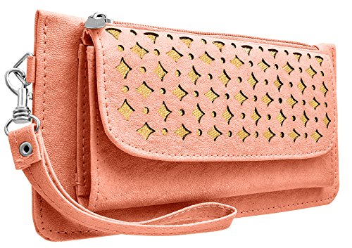 Tap Fashion Fancy Stylish Elegance Fashion Synthetic Peach Pink Handmade Wallet/ Clutch/ Purse for Girls and Women.  available at amazon for Rs.298