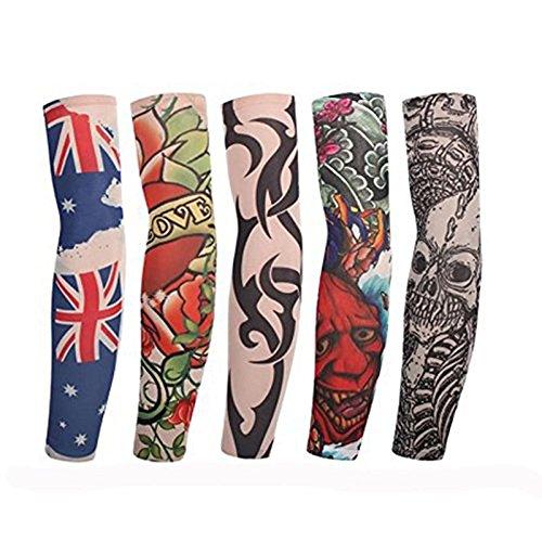 EQLEF® 10pcs faux tatouage temporaire Manches Body Art Arm Bas Accessoires - dessins tribaux, Dragon, Skull, et Etc. (5 paires)