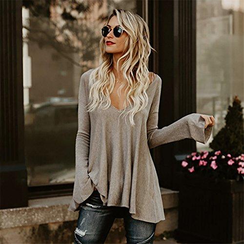 Femmes Blouse KAKING Casual Femmes À Manches Longues Lâche Pull En Vrac Profond-V Hem Fold T-shirt Solide TOP Marron