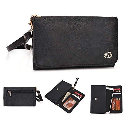 Kroo Pochette en cuir véritable pour téléphone portable pour Xolo A700s/q710s Marron - peau noir - noir